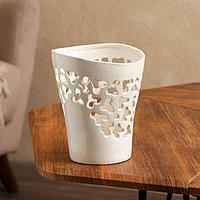 Кашпо 'Орхидейница', резная, белая, керамика