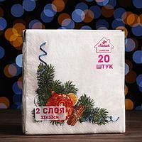 Новогодние салфетки бумажные Лилия 33х33 'Пряный декор' 2сл 20л.