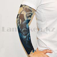 Тату рукав эластичный 370 мм Самурай в синих оттенках