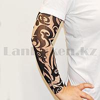 Тату рукав эластичный 370 мм Черные узоры