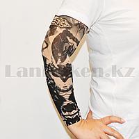 Тату рукав эластичный 370 мм Узоры черно-бежевые