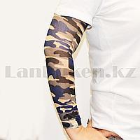 Тату рукав эластичный 370 мм Камуфляж синий белый черный серый