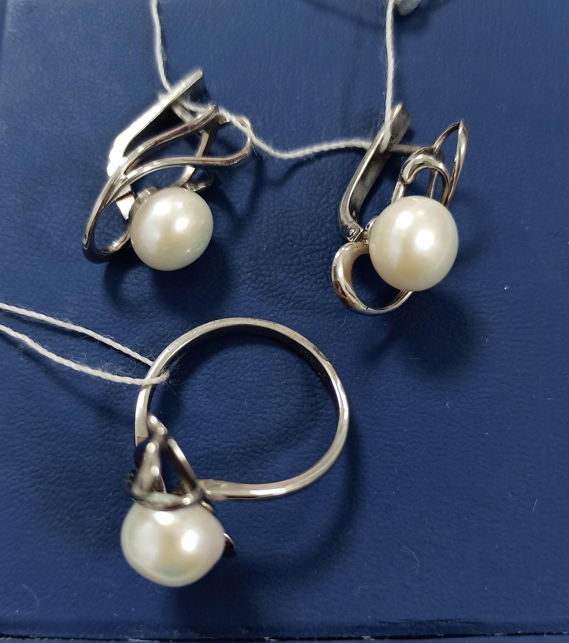 Комплект Серебро. размер кольца 18, 5