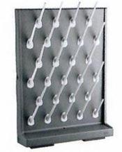 Стеллаж для сушки лабораторной посуды полипропиленовый, на 27 гнезд, серый,  400х110х550 мм