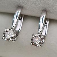 Золотые серьги с бриллиантами 0.90Ct I1/N, EX-Cut, фото 1