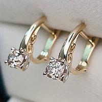 Золотые серьги с бриллиантами 0.80Ct SI2/N, EX-Cut, фото 1