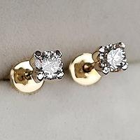 Золотые серьги пуссеты с бриллиантами 0.32Ct SI1/J, EX-Cut, фото 1