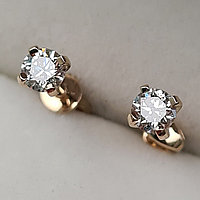 Золотые серьги пуссеты с бриллиантами 0.42Ct SI1/I, EX-Cut, фото 1