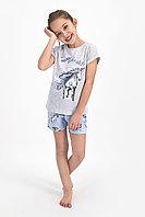 Пижама детская девичья 5-6/ 110-116 см, Серый меланж