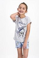 Пижама детская девичья 7-8/ 122-128 см, Серый меланж