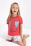 Пижама детская девичья 4-5/ 104-110 см, Красный