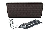 Ящик балконный RATOLLA PW с системой полива, поддоном и крючками коричневый 40см 6л