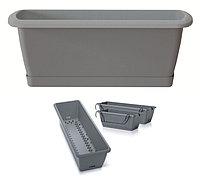 Ящик балконный RESPANA EASY CARE с системой полива, поддоном и крючками серый 60см