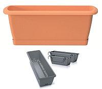 Ящик балконный RESPANA EASY CARE с системой полива, поддоном и крючками терракот 60см