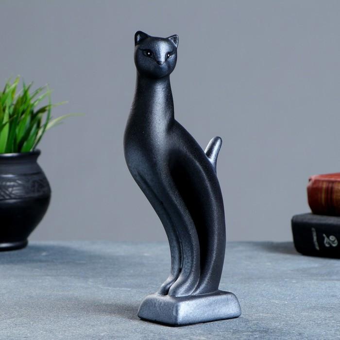 """Фигура """"Кошка Рысь"""" чёрная с серебром 7×5×21см 082"""