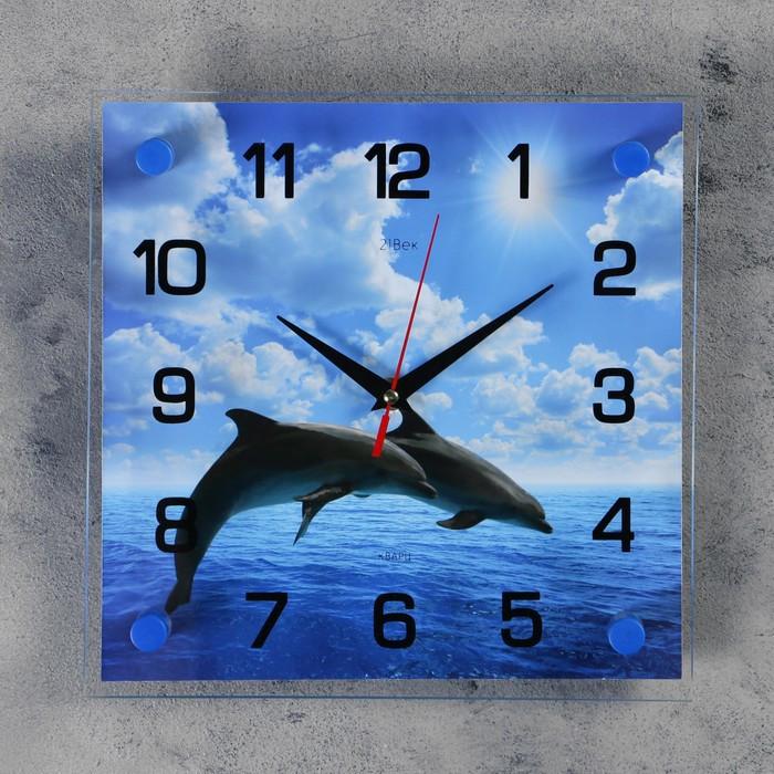 """Часы настенные, серия: Море, """"Дельфины в открытом море"""", 25х25  см, микс"""