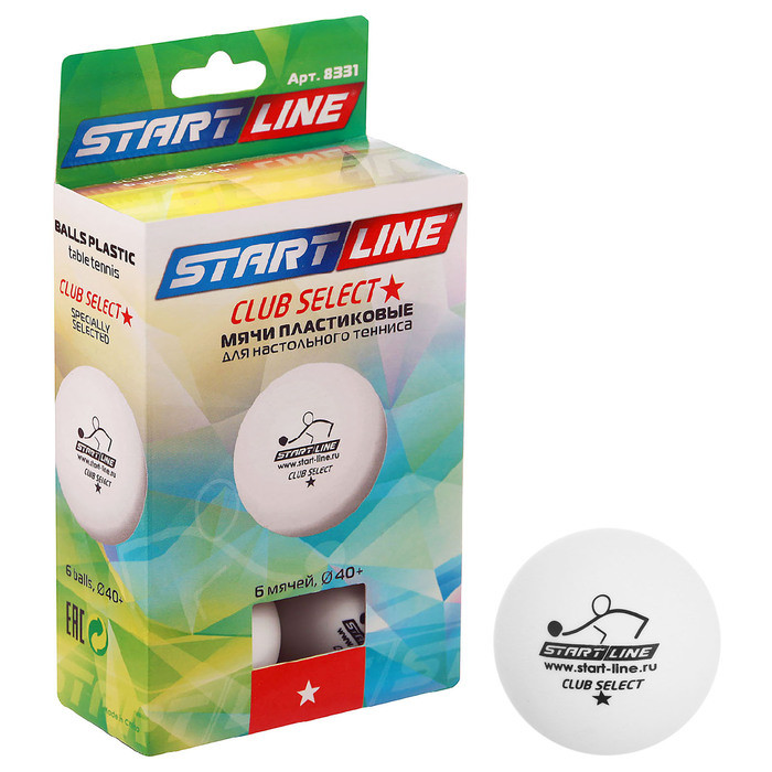 Мяч для настольного тенниса Start line Club Select, 1 звезда, набор 6 шт., цвет белый