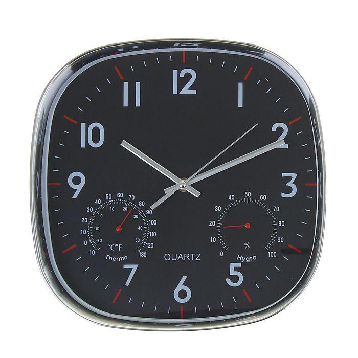 """Часы настенные, серия: Классика, """"Плюс"""" с гигрометром и термометром, хром, 30х30 см"""