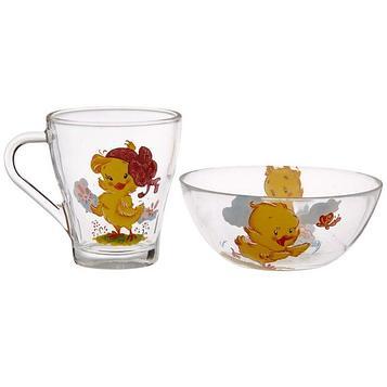 Набор детской посуды «Цыплята», 2 предмета: кружка 250 мл, салатник 250 мл 13 см, цвет МИКС