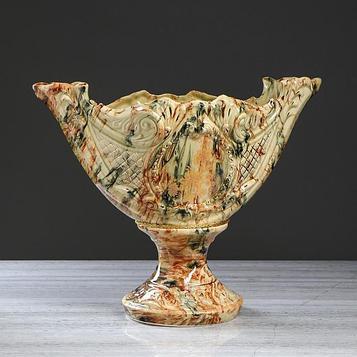 """Конфетница """"Ладья"""", под малахит, коричнево-зелёная, 40 см"""