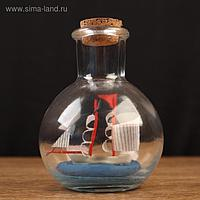 """Корабль сувенирный """"Пилигрим"""" в бутылке, вертикальн. 9*7см"""