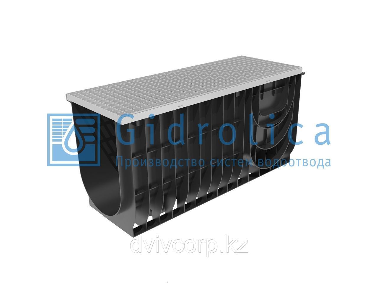 Арт. 0834А Комплект Gidrolica Light: лоток водоотводный ЛВ-30.38.48 - пластиковый c решеткой РВ -30.37.100