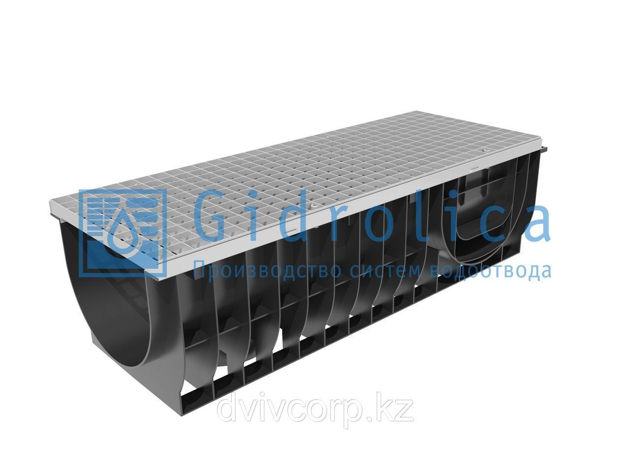 Арт. 0832А Комплект Gidrolica Light: лоток водоотводный ЛВ-30.38.28 - пластиковый c решеткой РВ -30.37.100