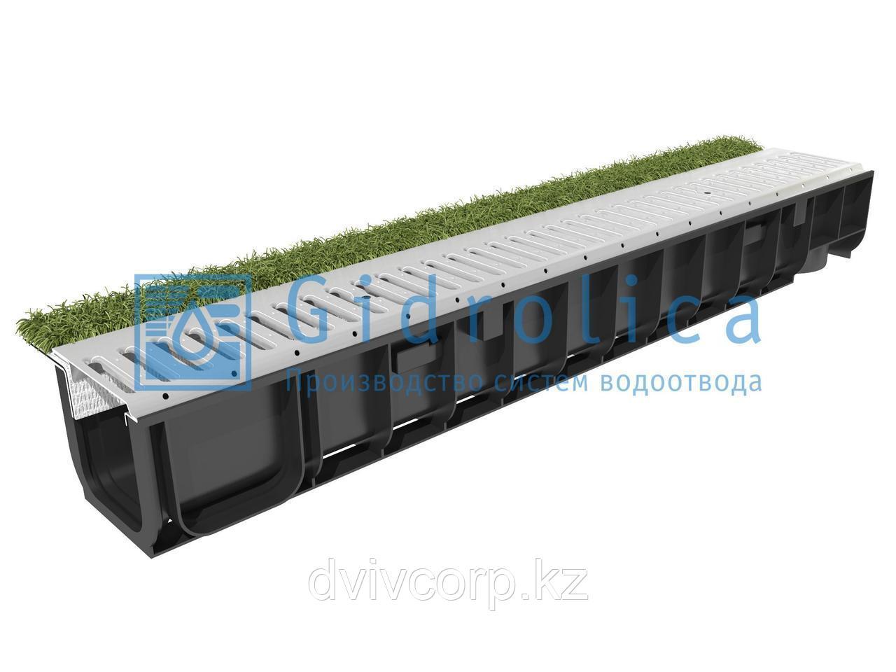 Арт. 0801sport Комплект Gidrolica Sport: лоток водоотводный ЛВ-10.14,5.12 пластиковый с решеткой