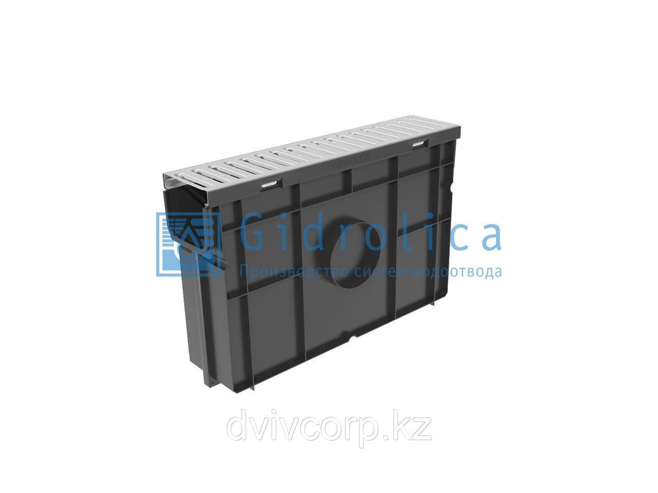 Арт. 08068 Комплект Gidrolica Light: пескоуловитель для пластиковых лотков ПУ 10.11,5.32 - пластиковый с