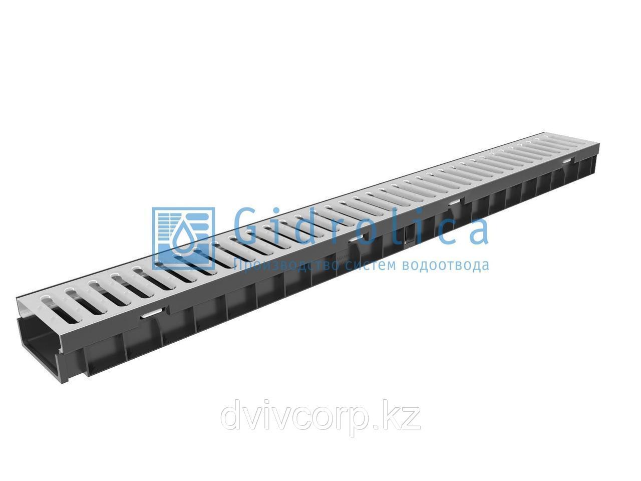 Арт. 08096 Комплект Gidrolica Light: лоток водоотводный ЛВ -10.11,5.5,5 - пластиковый со стальной реш, кл. A15