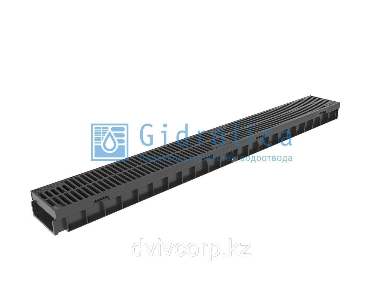 Арт. 08097 Комплект Gidrolica Light: лоток водоотводный ЛВ -10.11,5.5,5 - пластиковый с пластик.реш., кл. A15