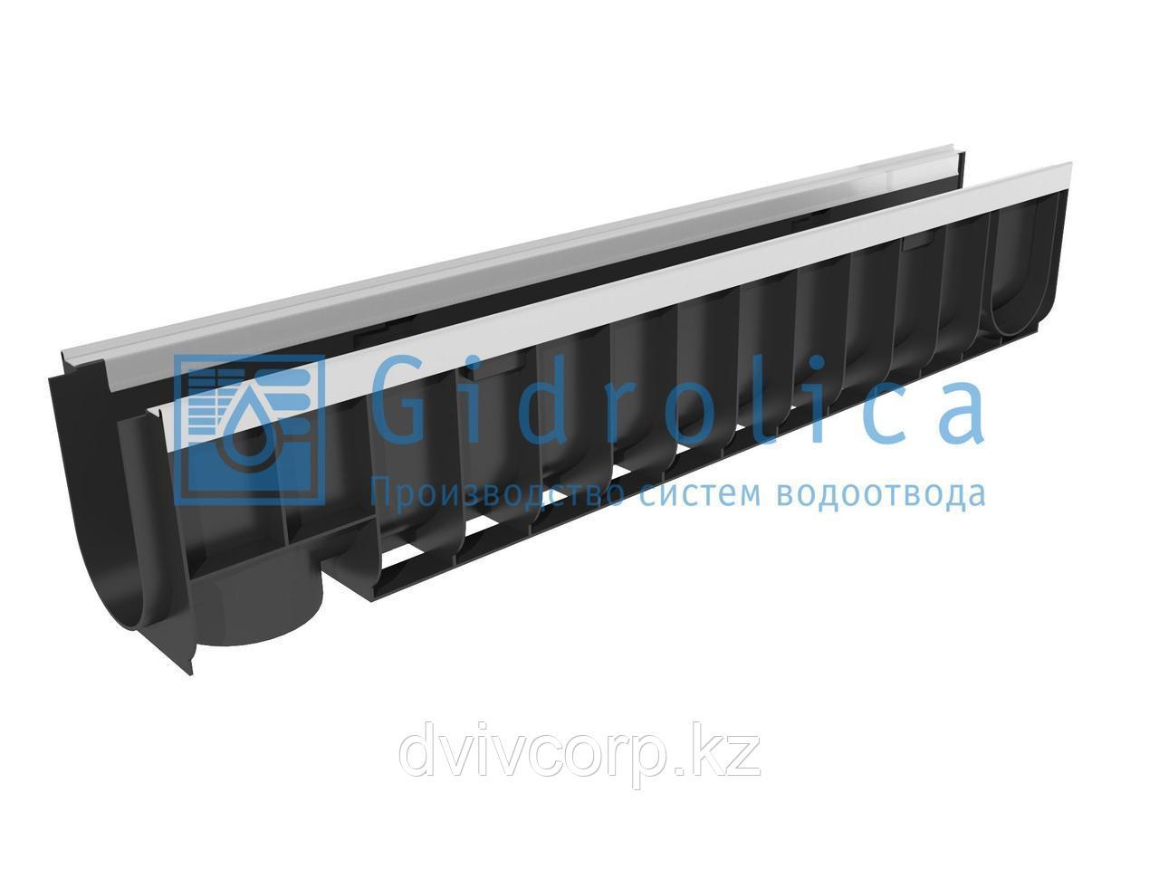 Арт. 8024 Лоток водоотводный Gidrolica Standart Plus ЛВ-10.14,5.18,5 - пластиковый (усиленный)