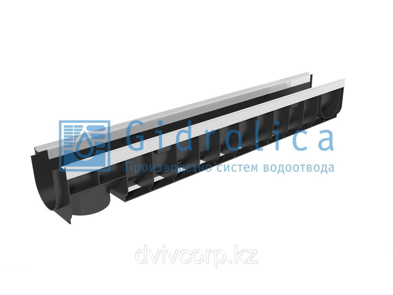 Арт. 8004 Лоток водоотводный Gidrolica Standart Plus ЛВ-10.14,5.13,5 - пластиковый (усиленный)