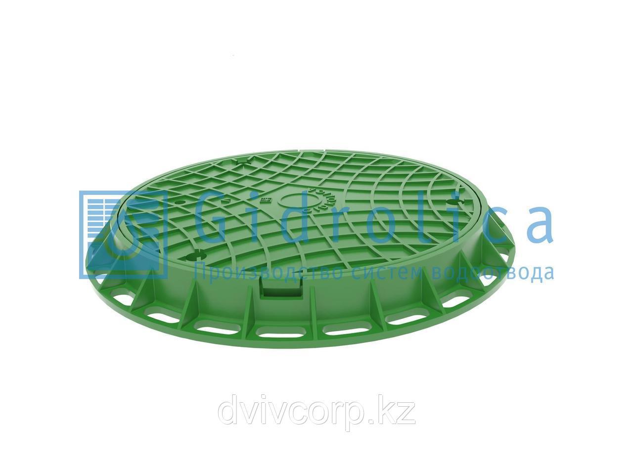 Арт. 218/з Люк канализационный Gidrolica Garden - пластиковый тип Л зеленый