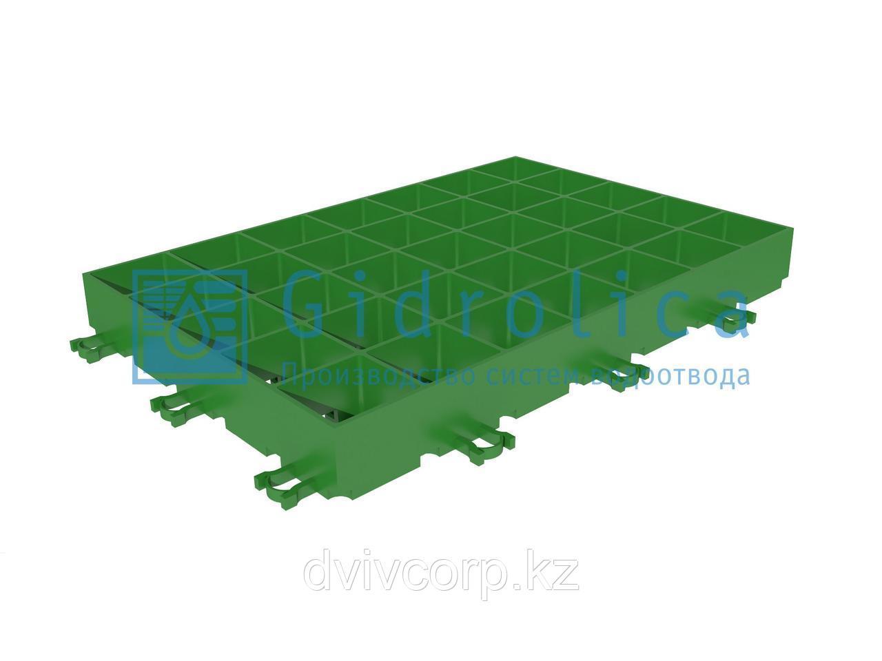 Арт. 601 Газонная Решетка Gidrolica Eco Super РГ-60.40.6,4 - пластиковая зеленая