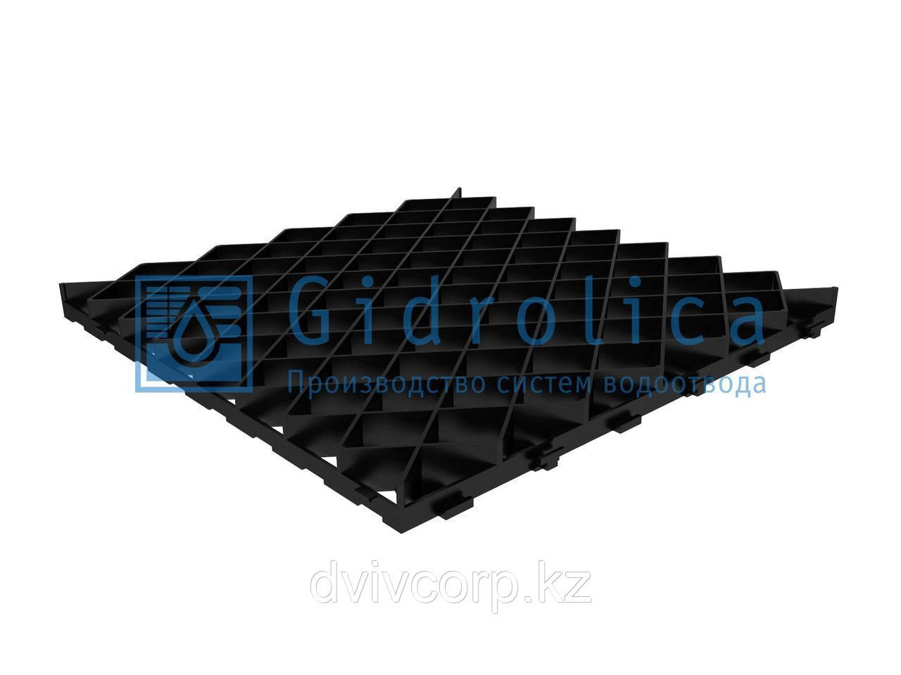Арт. 606 Решетка газонная Gidrolica Eco Pro РГ-60.60.4 - пластиковая черная