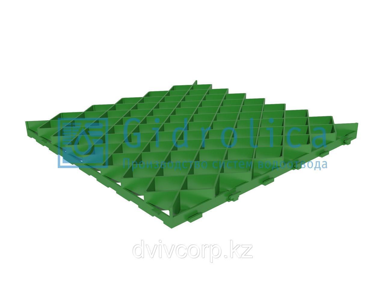 Арт. 605 Решетка газонная Gidrolica Eco Pro РГ-60.60.4 - пластиковая зеленая