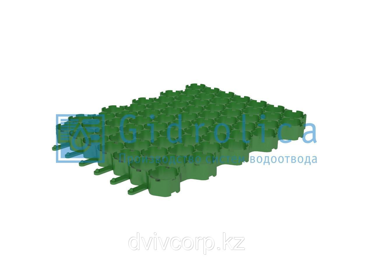 Арт. 609 Решетка газонная Gidrolica Eco Normal РГ-53.43.3,5 - пластиковая зеленая
