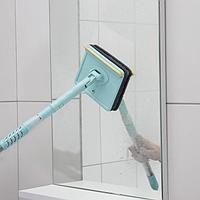 Окномойка со стальным телескопическим черенком, насадка микрофибра, водосгон силикон, 16×3,5×105 см