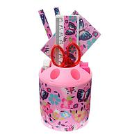 Набор настольный детский Бабочки(подставка+2 каранд+линейка+точил+ластик+ блок 8л+ножницы) 546526