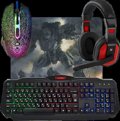 Игровой набор Defender Target MKP-350 (клавиатура+наушники+мышь+коврик)