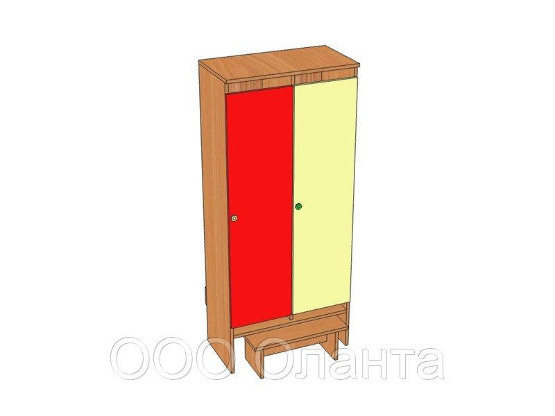 Шкаф двухместный для раздевалки детского сада (648х330х1400) арт. ШДО2