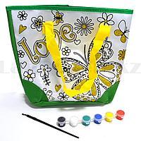 "Набор для творчества ""Сумка раскраска с золотистыми блестками"" Basir МС 4674 бабочка зеленая"