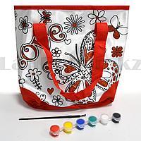 """Набор для творчества """"Сумка раскраска с красными блестками"""" Basir МС 4674 бабочка красная"""