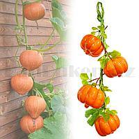 Искусственная тыква ветка декоративная муляж 4 шт маленькая 45 см оранжевая