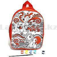 """Набор для творчества """"Рюкзак раскраска с красными блестками"""" Basir МС 4675 пони красный"""
