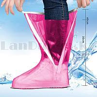 Бахилы высокие многоразовые водонепроницаемые от дождя прорезиненная подошва JY 819A розовый