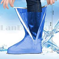 Бахилы высокие многоразовые водонепроницаемые от дождя прорезиненная подошва JY 819A голубые
