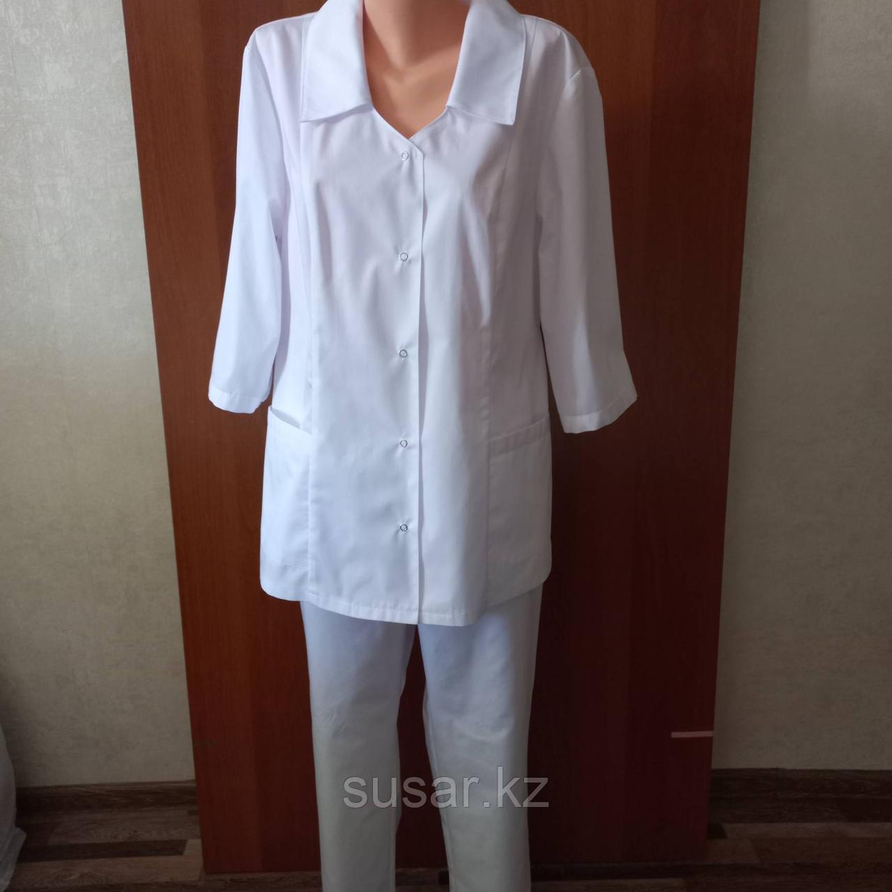 Медицинский костюм женский прямой однотонный