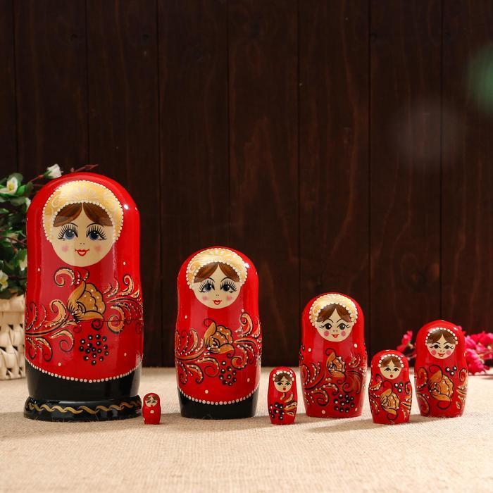 Матрёшка «Золотая хохлома», красный платок, 9 кукольная, 20 см, ручная работа